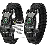 A2S Protection Paracord Bracelet K2-Peak - Survival Gear Kit with Embedded Compass, Fire Starter, Emergency Knife & Whistle E