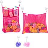 2 x Mesh Bath Toy Organizer + 6 Ultra Strong Hooks ? The Perfect Net for Bathtub Toys & Bathroom Storage ? These Multi-Use Or