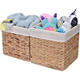 StorageWorks Hand-Woven Storage Basket with Iron Wire Frame, Foldable Hyacinth Storage Baskets Medium(2-Pack) Natural(Water H