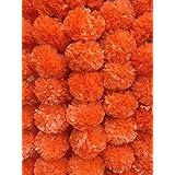 Decoration Craft Pack of 5 Artificial Dark Orange Marigold Flower Garlands 5 Feet Long, for Parties, Indian Weddings, Indian