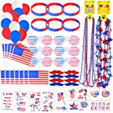 116 PCS 4th of July Accessories for Patriotic Decoration Decor American Flag with Pole Necklace Shutter Shading Glasses Rubbe