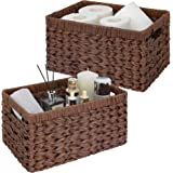 """GRANNY SAYS Hand-Woven Storage Baskets, Imitation Wicker Baskets with Handles, Rectangle Decorative Baskets, Brown, 13"""" x 8.2"""