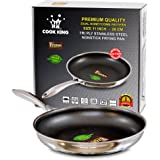 COOK KING 28cm/11inch Triply Stainless Steel Dual-Honeycomb Nonstick Skillet/Frying Pan. PFOA Free