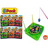 JA-RU Magnet Fishing Game Portable Pocket Board Games Mini (Pack Of 6) Magnetic Toy By Jaru. Assortment Of Classic Toys Party