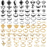 PANTIDE 83Pcs Vintage Knuckle Rings Set Stackable Finger Rings Midi Rings for Women Bohemian Retro Hollow Carved Flowers Gold