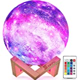 SEGOAL Moon Lamp Moon Light Kids Night Light Galaxy Lamp 16 Colors LED 5.9 Inch 3D Star Lamp with Wood Stand, Touch & Remote