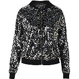 PrettyGuide Women's Sequin Blazer Long Sleeve Clubwear Sparkly Bomber Jacket