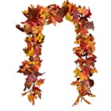 12Ft 6ft/pc Fall Garland Fall Maple Leaves Garland Artificial Fall Foliage Garland for Indoor Outdoor Wedding Thanksgiving Di