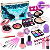 Enjoybot Kids Washable Makeup Toy - 25PCS Mermaid Real Cosmetic for Little Girls , Play Pretend Makeup Kit for Toddlers , Rea