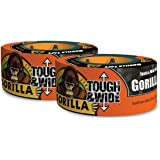 """Gorilla Tape, Black Tough & Wide Duct Tape, 2.88"""" x 30 yd, Black, (Pack of 2)"""