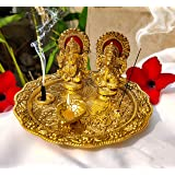 Aluminium Golden Color Plated Laxmi Ganesha Idol with Platter Plate for Puja Diwali Gift Items Deepawali Decorations Indian D