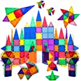PicassoTiles 100 Piece Set 100pcs Magnet Building Tiles Clear Magnetic 3D Building Blocks Construction Playboards, Creativity