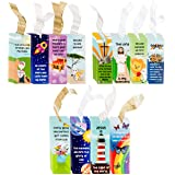 Juvale Christian Scripture Bookmarks for Kids - 72 Designs, Bible Verse Quotes, Religious Message Bookmarks with Ribbons, for