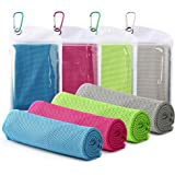 """Famiry 4 Packs Cooling Towel (40""""x 12""""), Ice Towel, Soft Breathable Chilly Towel, Microfiber Towel for Yoga, Sport, Running,"""