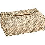 """KOUBOO 1030061 Laguna Rectangular Rattan Tissue Box Cover, 9.5"""" x 5.75"""" x 3.25"""", White Wash"""