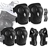 AresKo Kids/Youth Protective Gear Set, Kids Knee Pads and Elbow Pads Wrist Guard Protector 6 in 1 Protective Gear Set for Sco