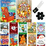 Seasonal Garden Flag Set of 10-12x18 Inch- Double Sided Yard Flag with Free Anti-Wind Clip and Stopper Outdoor Decorative Hol