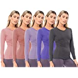 Sexy Basics Women's 5 Pack Casual & Active Basic Cotton Stretch Long Sleeve Round Crew Neck Athletic T-Shirt Tops