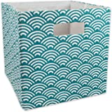 DII Hard Sided Collapsible Fabric Storage Container for Nursery Offices & Home Organization (13x13x13) - Waves Teal