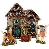 "PRETMANNS Fairy Garden House Kit - Accessories with Miniature Fairies & Welcome Sign – Fairy House is 6"" High – Fairy Garden"