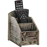 3 Slot Rustic Torched Wood Remote Control Caddy/Media Organizer Office Supply Storage Rack