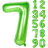40 Inch Green Large Numbers 0-9 Birthday Party Decorations Helium Foil Mylar Big Number Balloon Digital 7