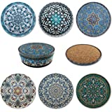 Coasters for Drinks Set of 6, Printed Tin Top and Non-Slip Cork Base, Oriental Pattern Coasters, Vibrant Coloured Cup Coaster