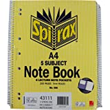 SPIRAX 43111 596 5 Subject Notebook, A4 250 Page