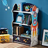 Fantasy Fields - Outer Space Thematic Wooden Kids Bookcase with Hand Crafted Designs & Toy Storage