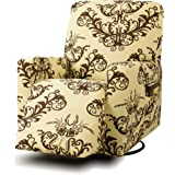 TIKAMI Stretch Recliner Chair Covers Printed Floral Sofa Slipcovers Furniture Protector Pocket(Coffee Print)