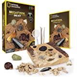 NATIONAL GEOGRAPHIC Mega Fossil Dig Kit – Excavate 15 Real Fossils Including Dinosaur Bones, Mosasaur & Shark Teeth - Great S