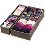 SimpleHouseware Closet Underwear Organizer Drawer Divider 4 Set Brown