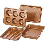 Ayesha Curry Nonstick Bakeware Toaster Oven Set with Nonstick Baking Pan, Cookie Sheet / Baking Sheet and Muffin Pan / Cupcak