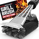 Alpha Grillers Grill Brush and Scraper. Best BBQ Cleaner. Perfect Tools for All Grill Types, Including Weber. Stainless Steel