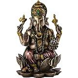 Ganesh (Ganesha) Hindu Elephant God of Success Real Bronze Powder Cast Statue, 18cm