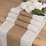 Christmas Burlap Table Runner Farmhouse Style 12 x 108 inches Long, Natural Jute Table Runners Rustic for Country Wedding Par