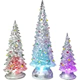 BANBERRY DESIGNS Christmas Tree LED - Set of 3 Acylic Xmas Trees with Painted Colorful Ornaments - Coloring Changing Tabletop