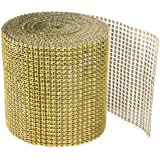 Gold Diamond Sparkling Rhinestone Mesh Ribbon for Event Decorations Wedding Cake Birthdays Baby Shower Arts & Crafts 4.75 x 1
