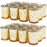 Juvale Mercury Glass Votive Candle Holders (2.2 x 2.2 x 2.6 in, Gold, 24 Pack)