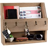 Key and Mail Holder with Shelf - Wooden Wall Mount Mail Organizer & Key Rack - Rustic Barn Wood with Metal Hooks, Decorative
