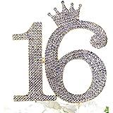 Number 16 Rhinestone Princess Crown Monogram Cake Topper - Sweet 16th Birthday Party (Gold)