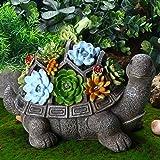 Jetec Solar Turtle Garden Figurine Turtle Statue Outdoor Decor Waterproof Resin Garden Decor Tortoise Sculpture Ornament with