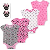 Disney Girl's 4-Pack Minnie Mouse Bodysuit Creeper Onesie with 12 Milestone Stickers, Pink, 0-12 Months