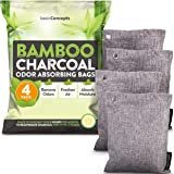 Nature Fresh Bamboo Charcoal Air Purifying Bags (4 Pack), Charcoal Bags Odor Absorber for Home and Car (Pet Friendly) - Charc
