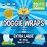 Disposable Dog Male Wraps | 20 Premium Quality Adjustable Pet Diapers with Moisture Control and Wetness Indicator | 20 Count