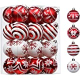 Valery Madelyn 24ct 60mm Traditional Red and White Christmas Ball Ornaments, Shatterproof Xmas Balls for Christmas Tree Decor