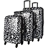 American Tourister Moonlight Hardside Expandable Luggage with Spinner Wheels, Leopard Black, 3-Piece Set (20/24/28)