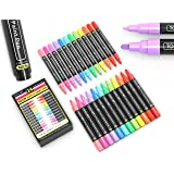 24 Neon Fluorescent Acrylic Paint Pens Marker Set 0.7mm Extra Fine and 3.0mm Medium Tip Combo for Rock Painting, Canvas, Fabr