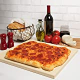 """CucinaPro 815 Oven, Grill, BBQ-Rectangular Pizza Baking Stone-XL 16"""" x 14"""" Pan for Perfect Crispy Crust, Light Brown"""