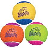 KONG - Squeakair Birthday Balls - Dog Toy Premium Squeak Tennis Balls, Gentle on Teeth - for Medium Dogs (3 Pack)